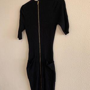 Guess Dresses - GUESS | Kaden Ribbed Black Sweater Dress Gold Zip